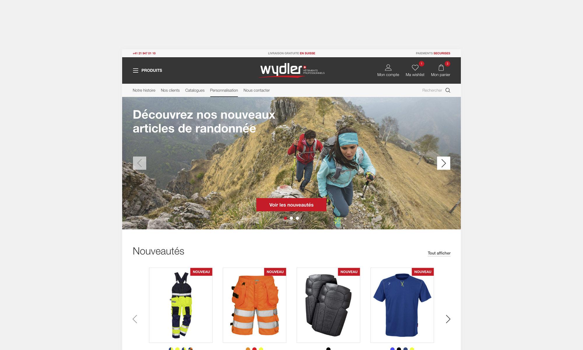 Page d'accueil du site Wydler SA