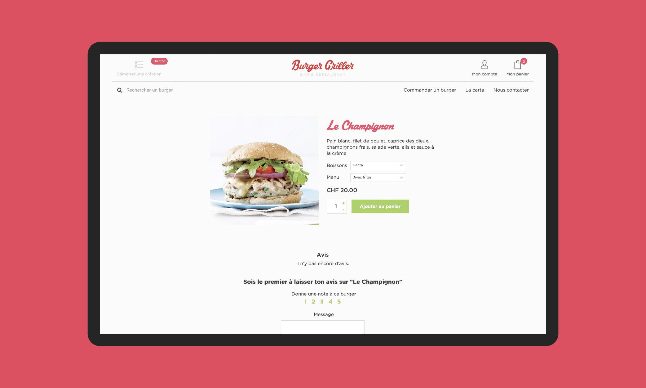 Page d'un burger du site Burger Griller