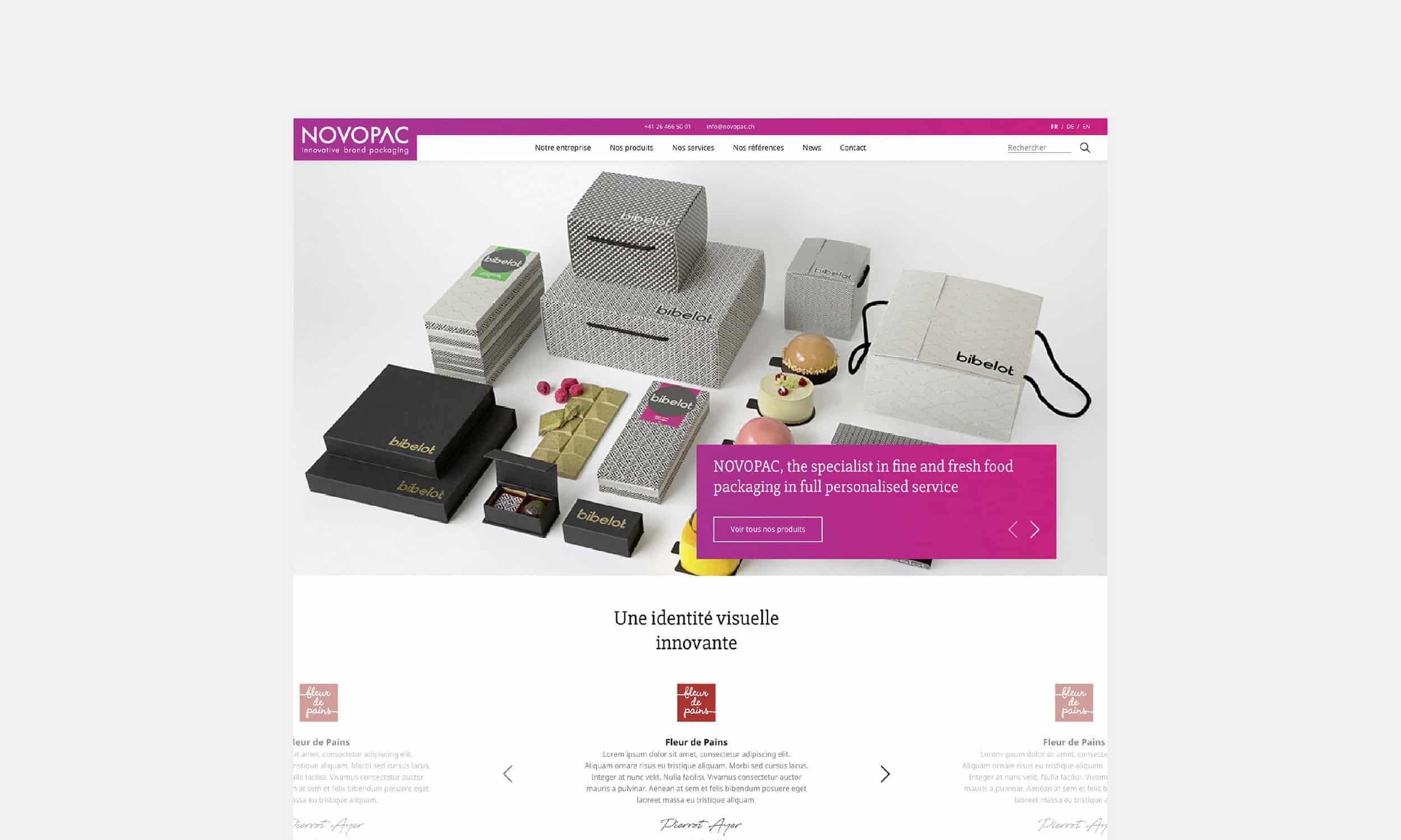 Page d'accueil du site Novopac