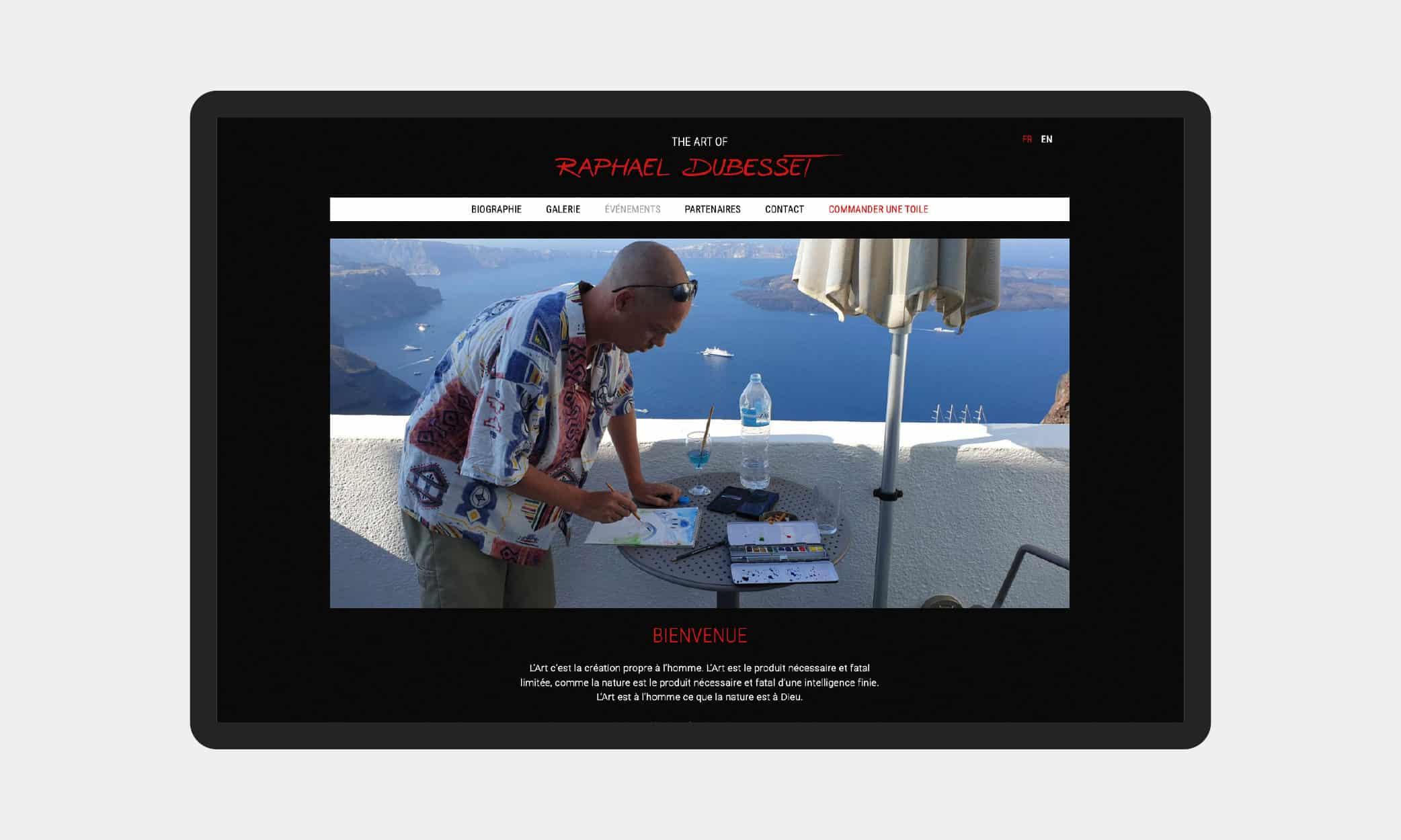 Page d'accueil du site Raphael Dubesset Art