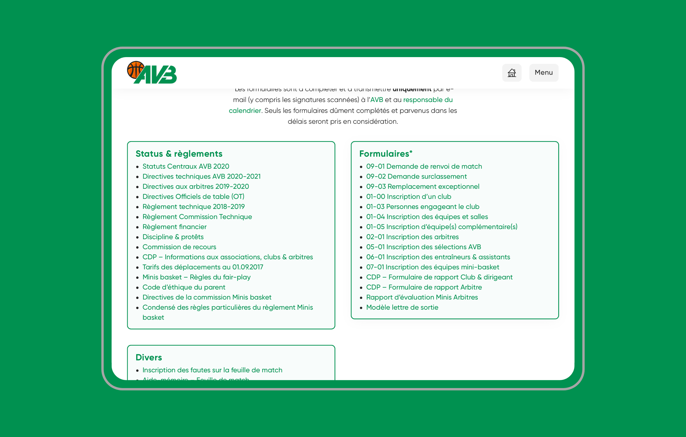 Version tablette du site de l'Association Vaudoise de Basketball