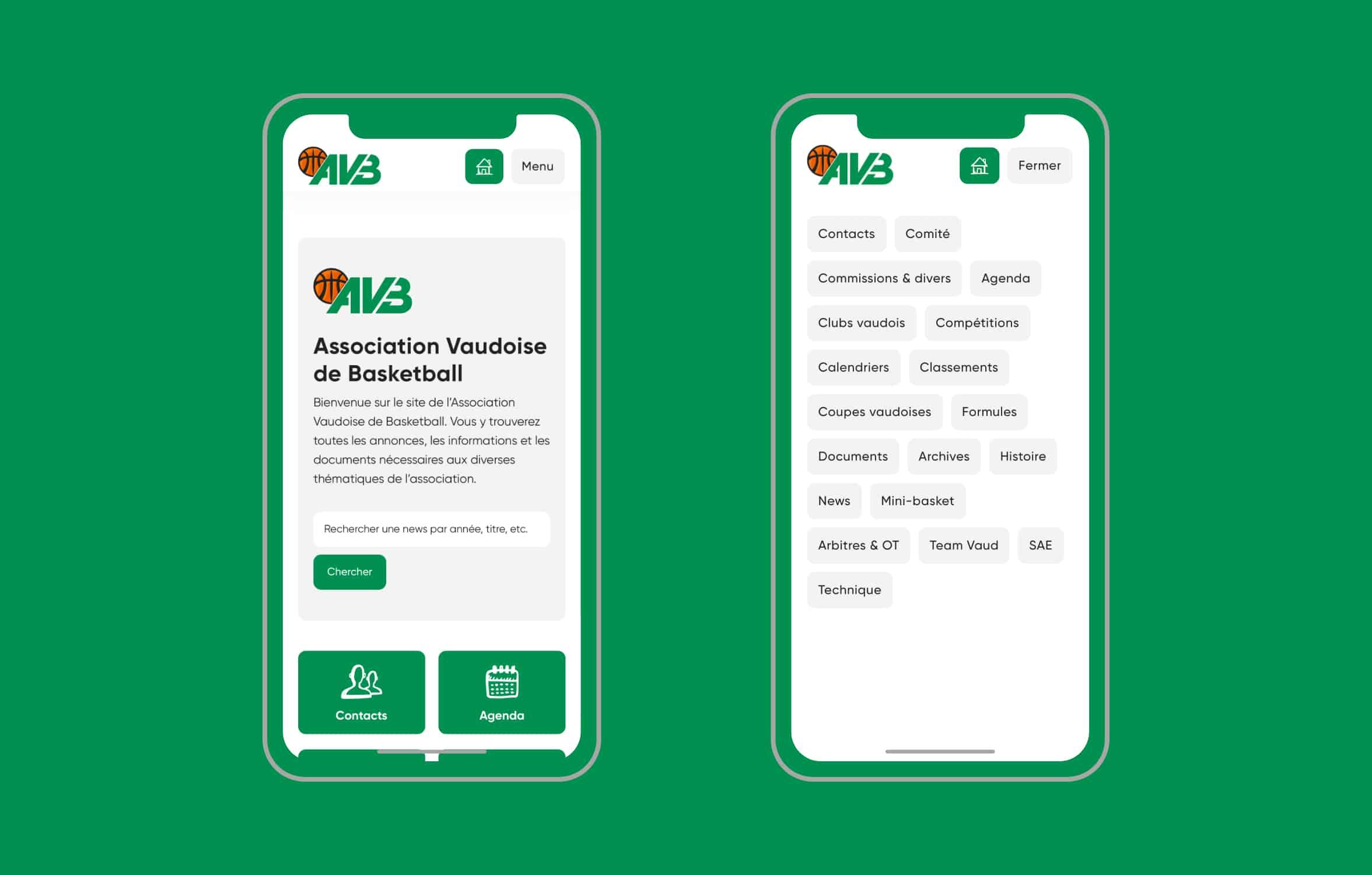 Version mobile du site de l'AVB