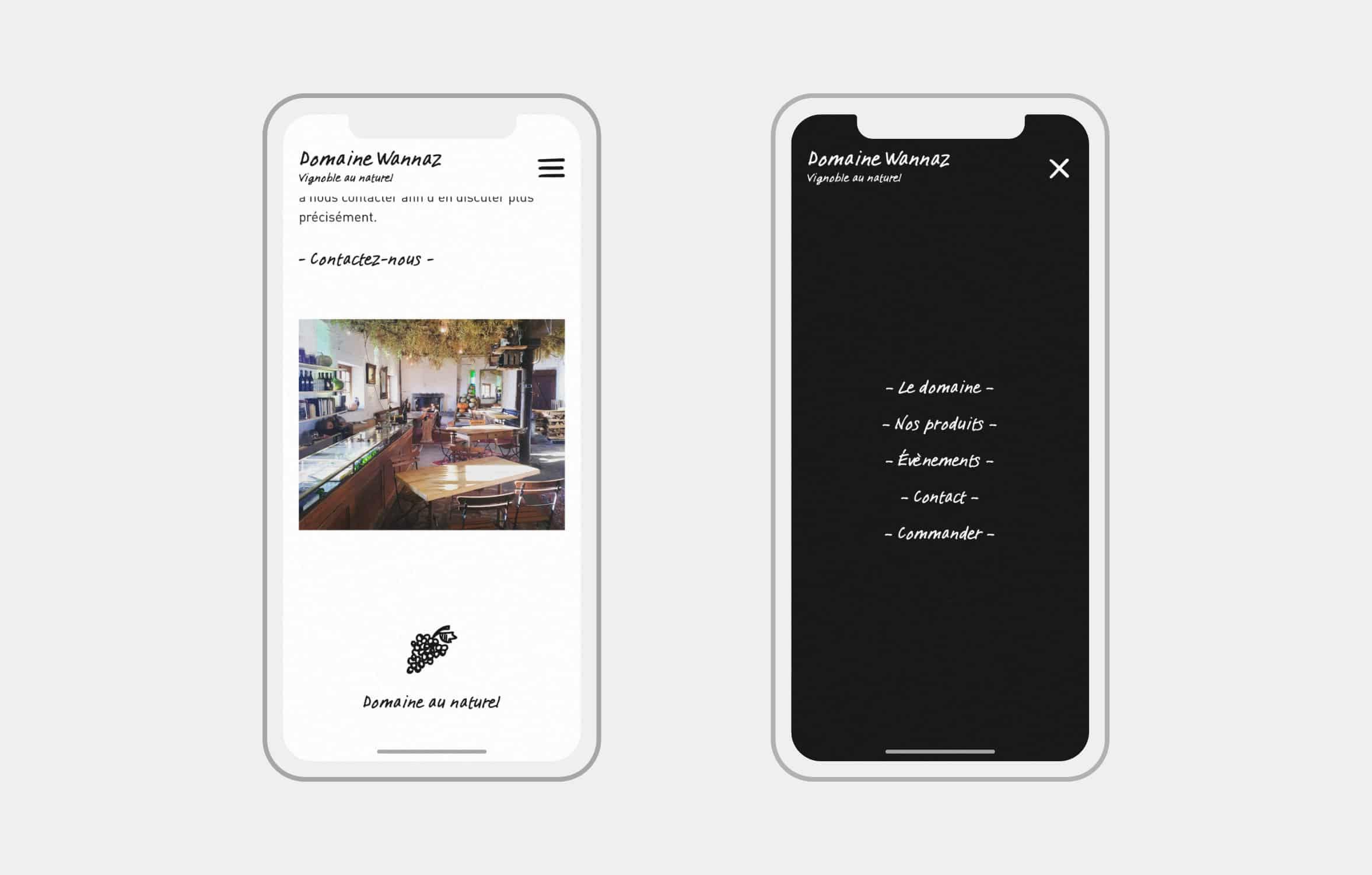 Version mobile du site Domaine Wannaz