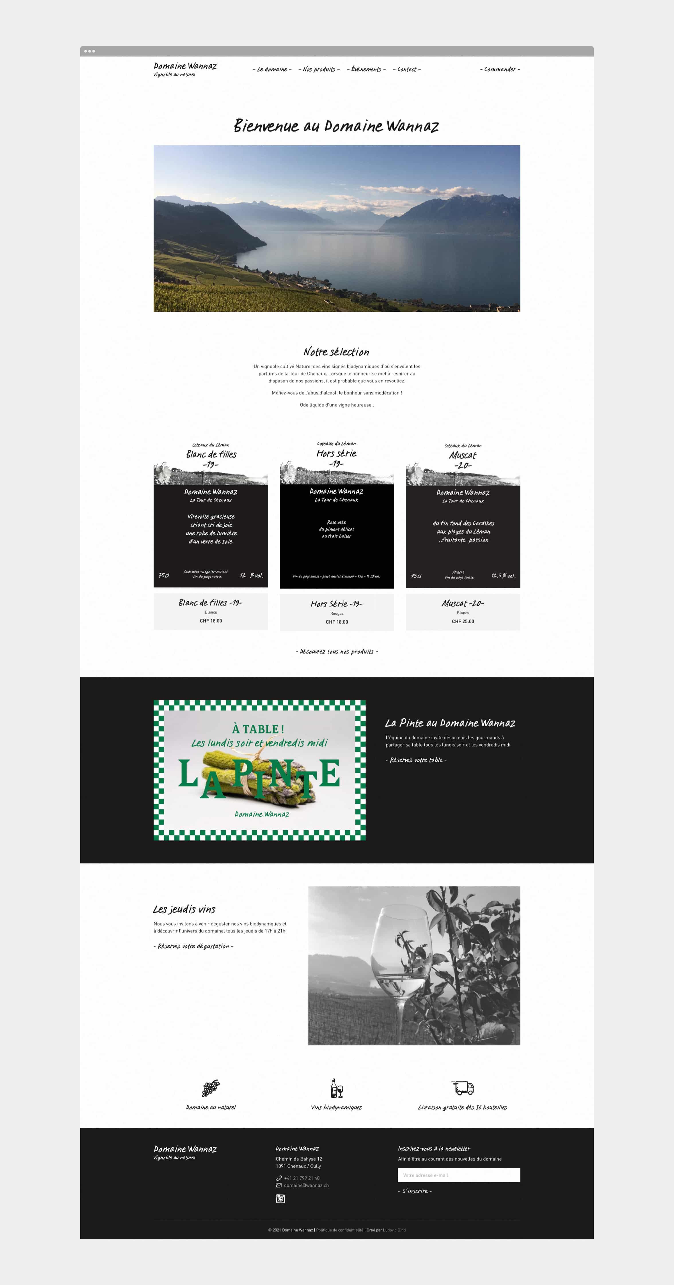 Page d'accueil du site Domaine Wannaz