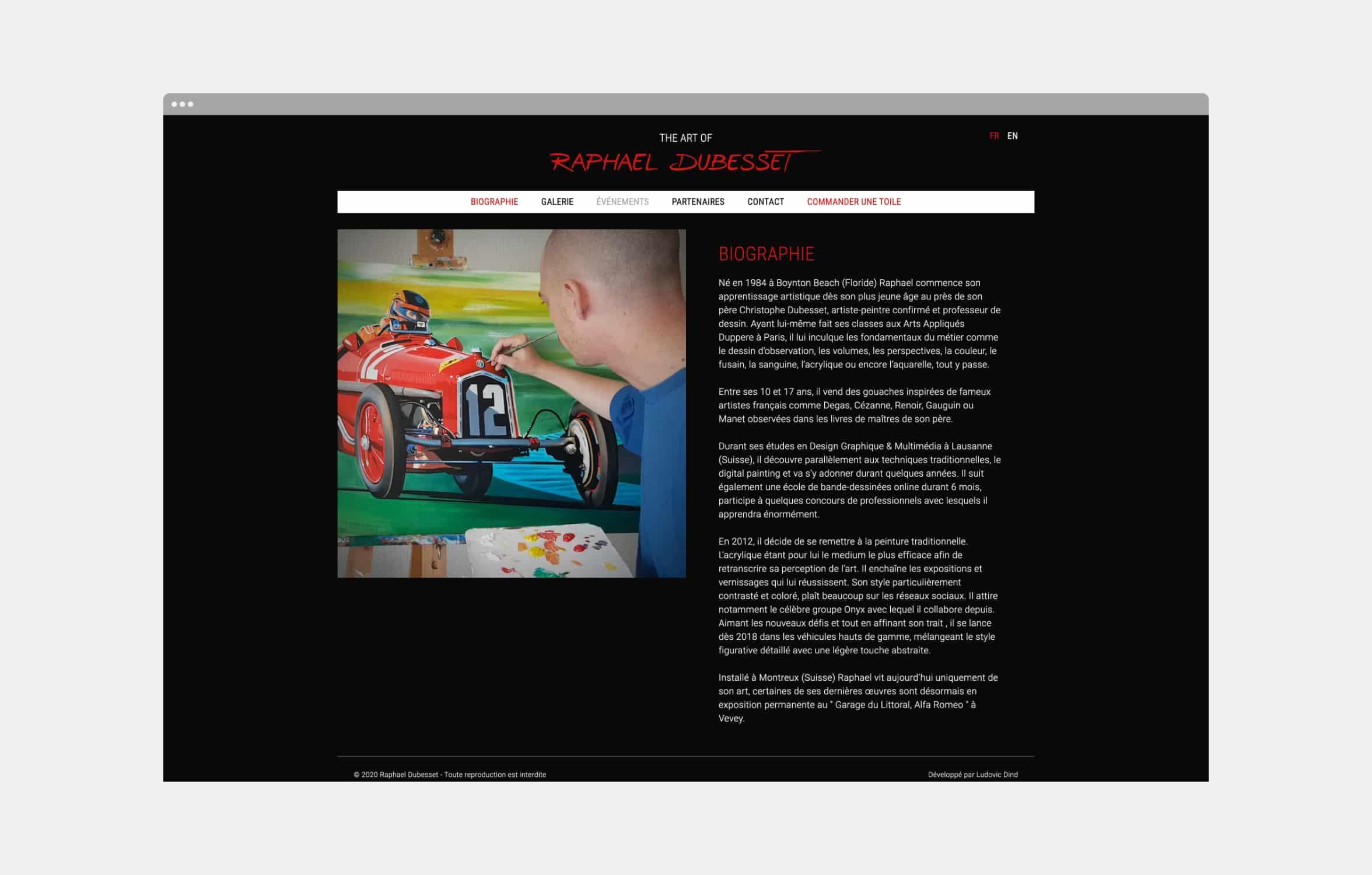 Page biographie du site