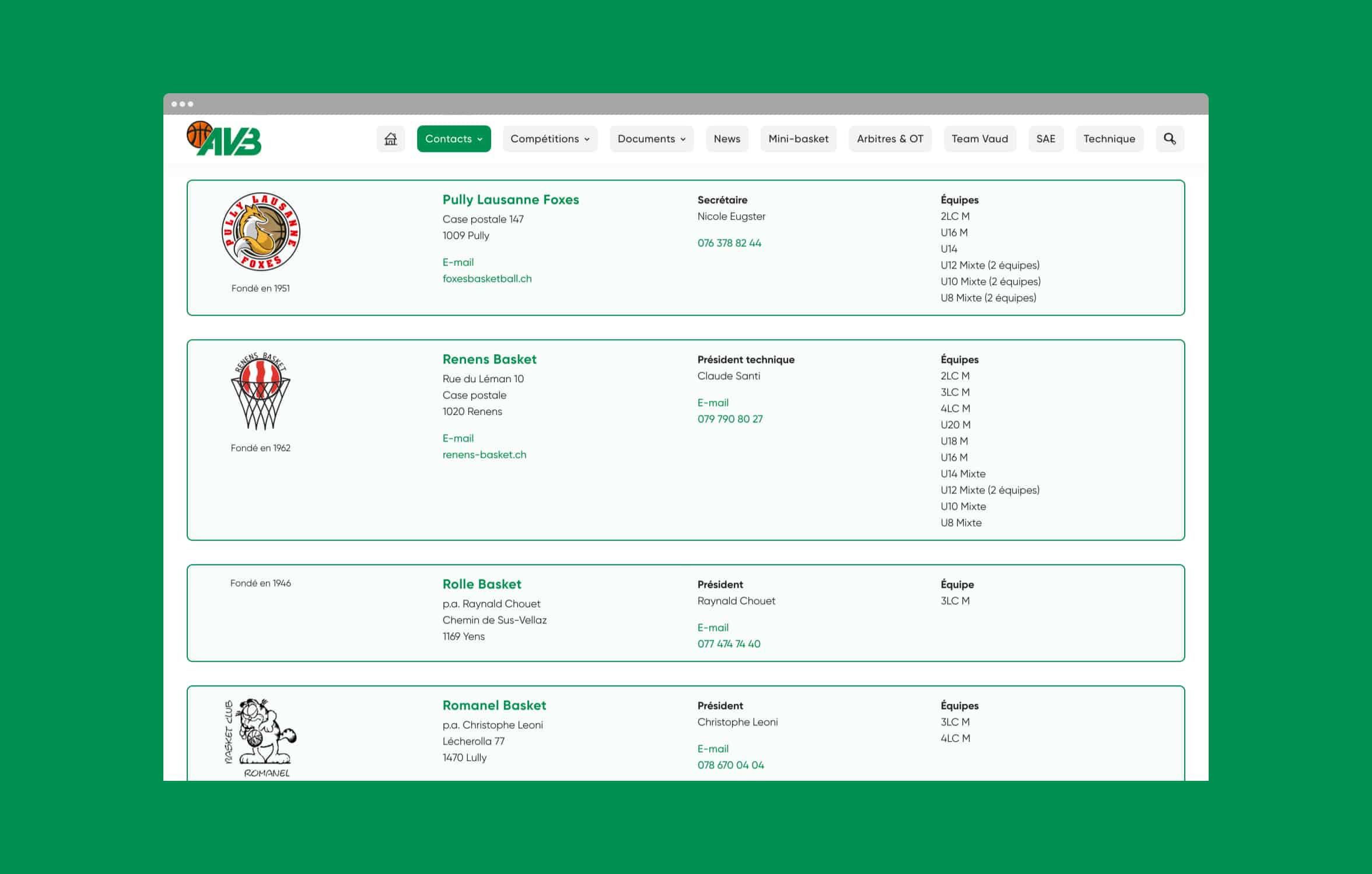 Page des clubs vaudois du site de l'AVB