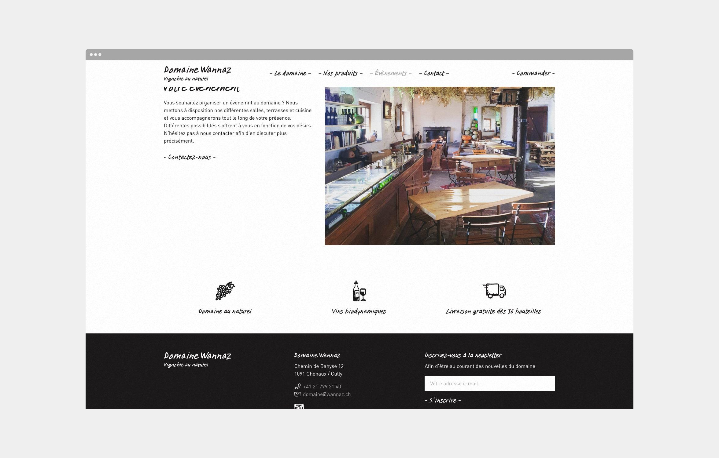 Création d'un site internet pour le Domaine Wannaz
