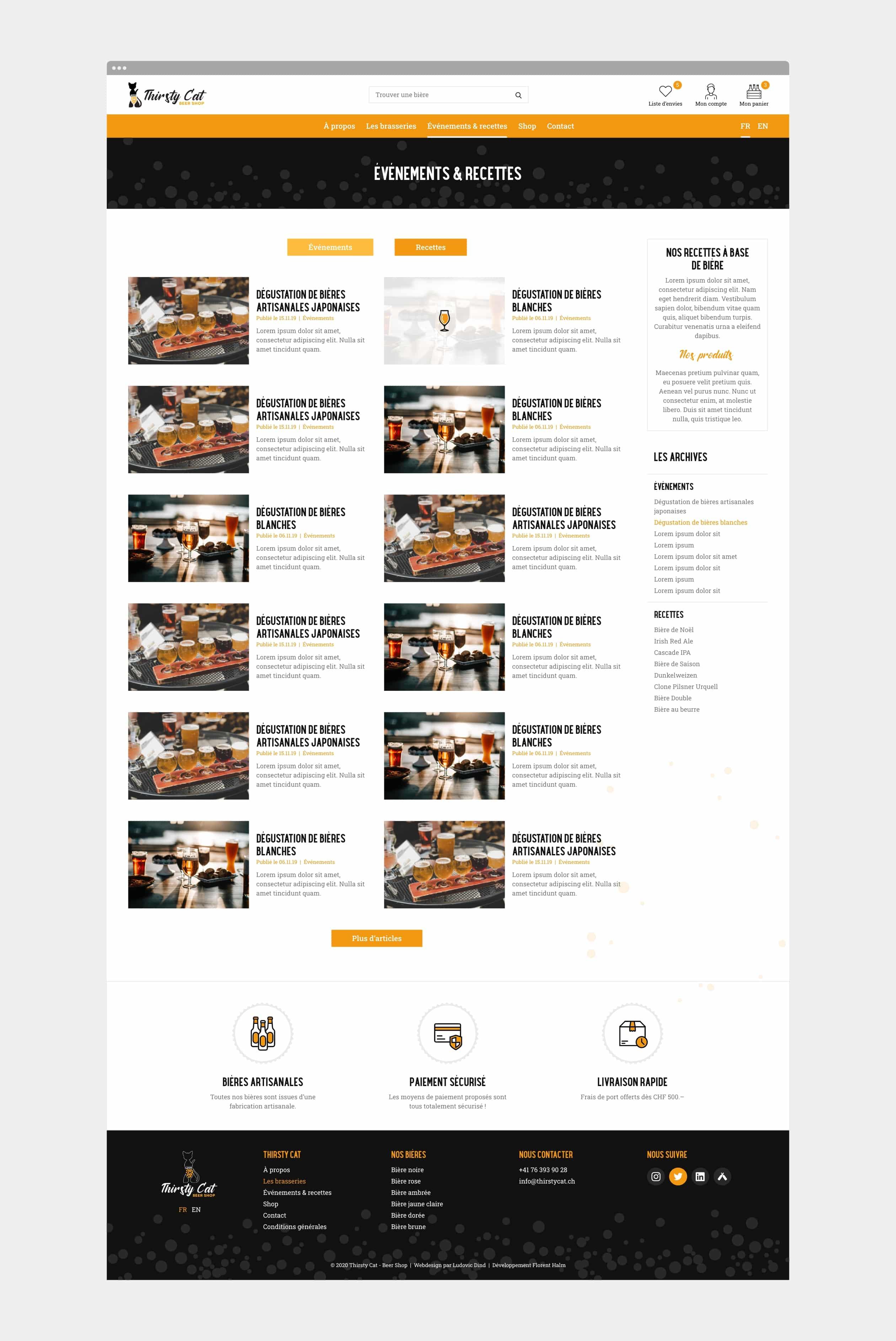 Page du blog du site internet