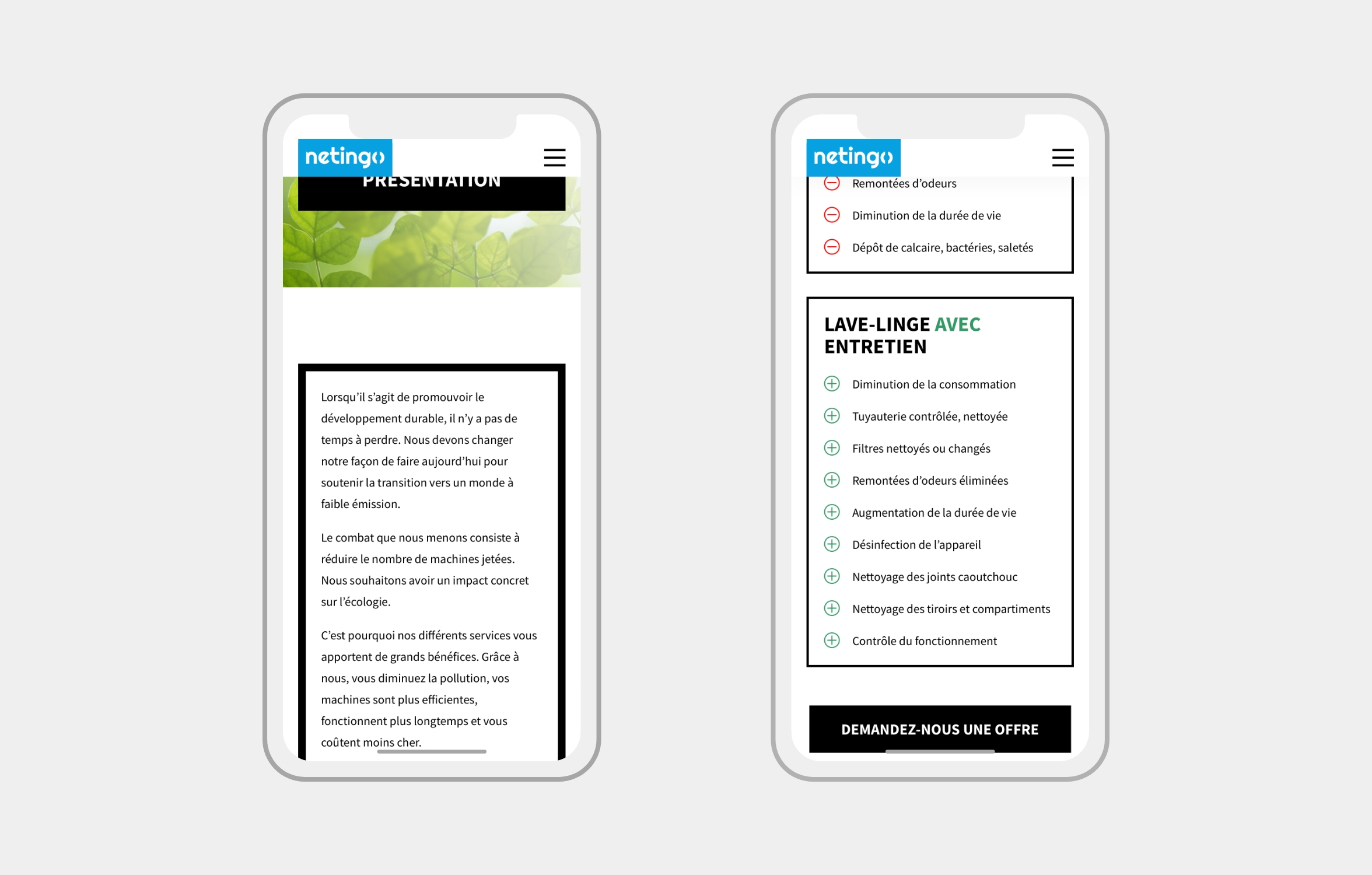 Version mobile du site Netingo