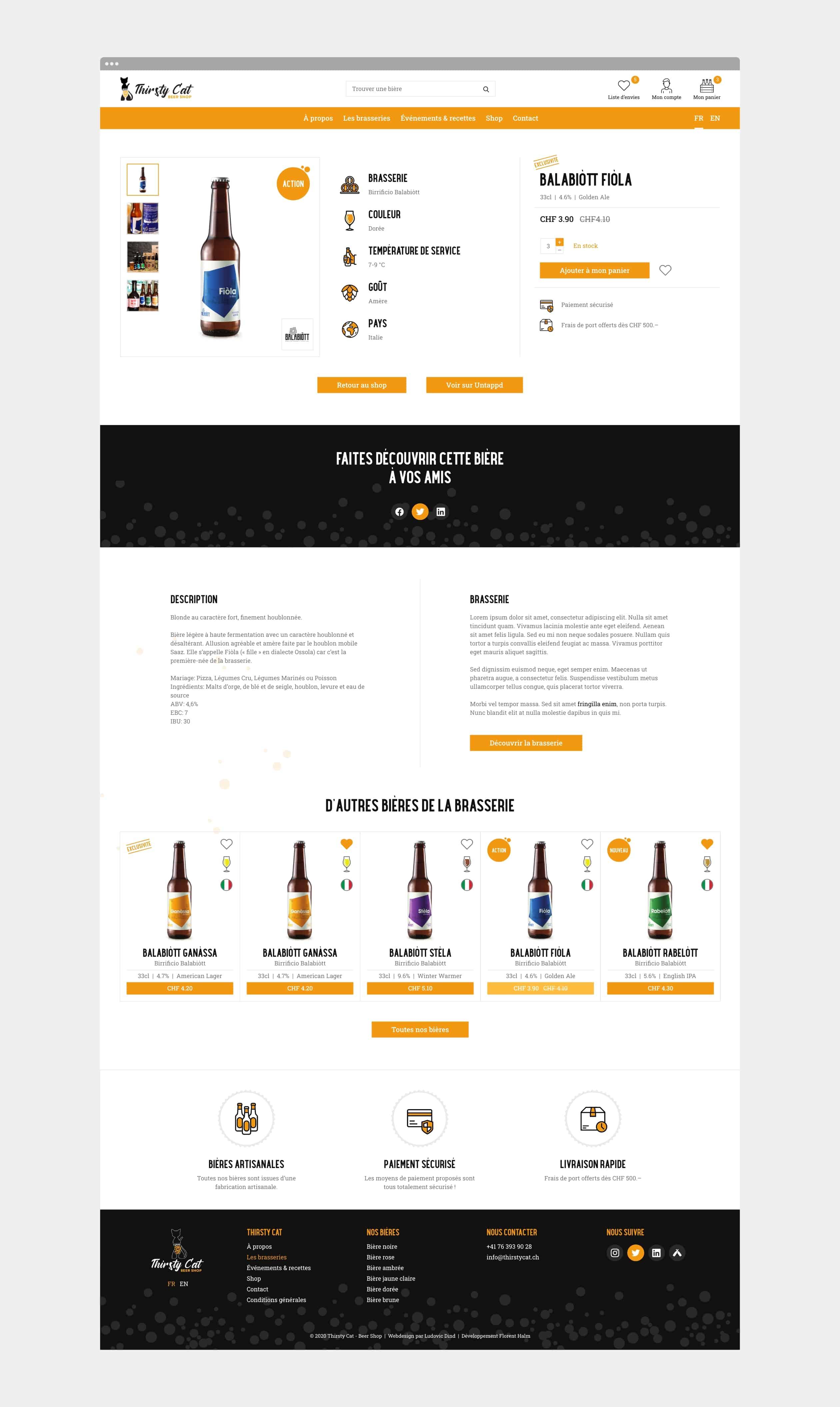 Page d'une bière du site internet