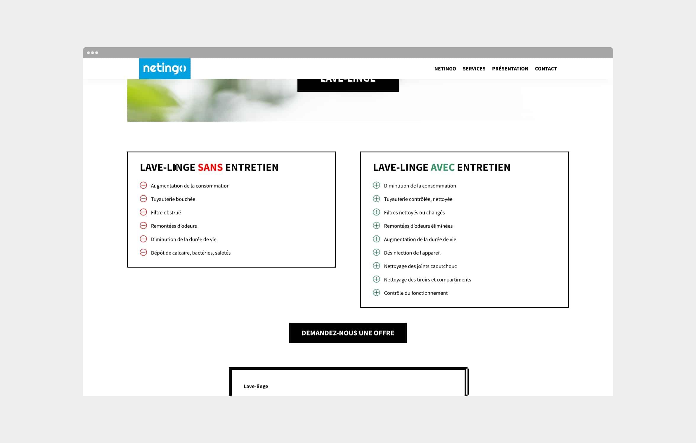 Page d'un service du site internet