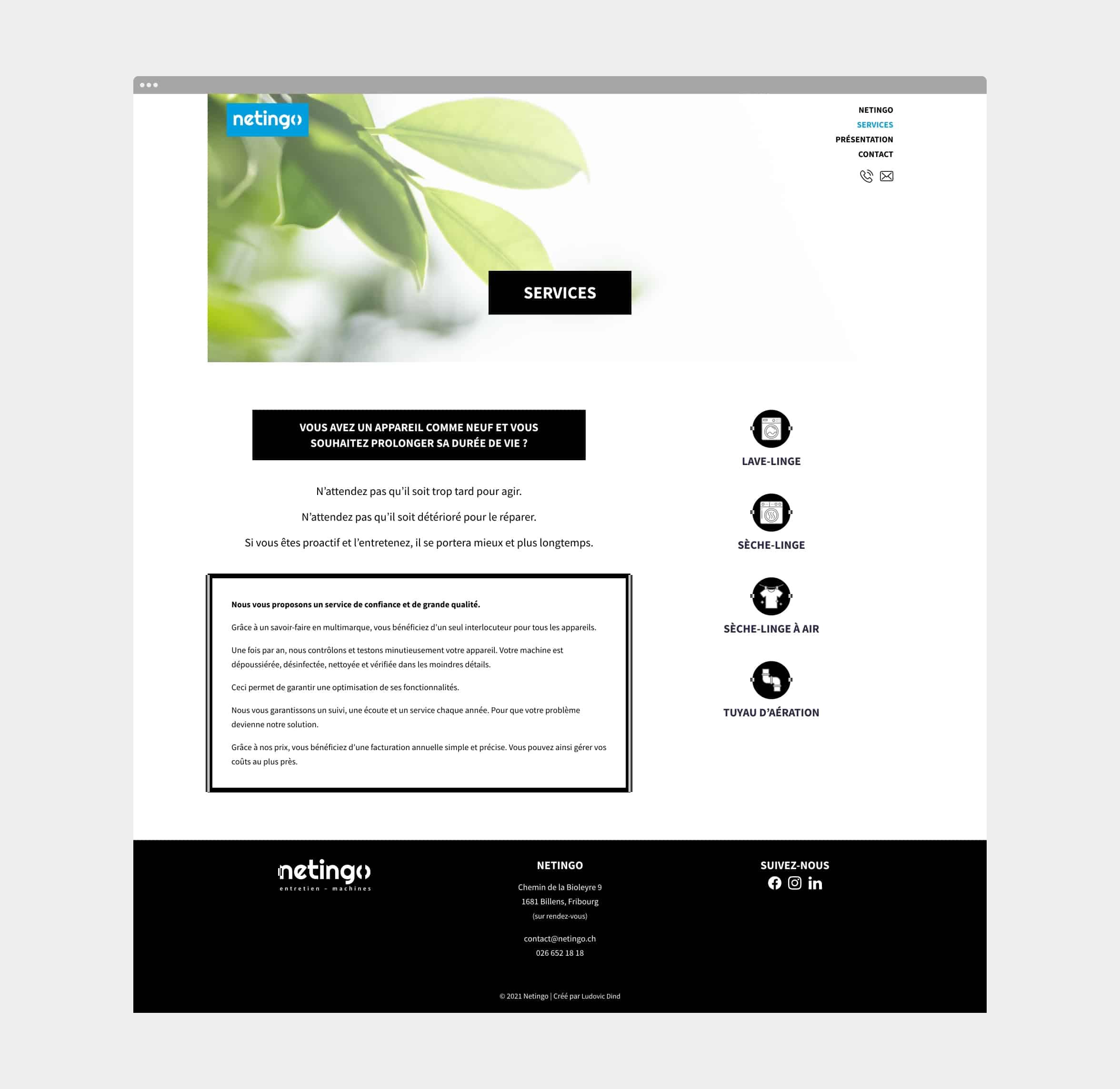 Page des services du site internet